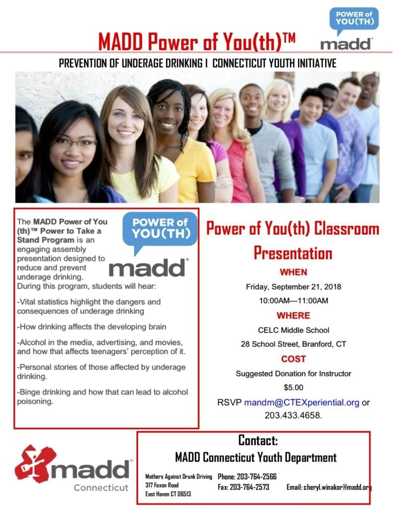 MADD's Power of You(th)TM comes to CT Experiential Learning Center